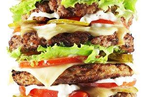 Hamburger isolated on a white