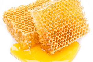 Honeycomb on a white background