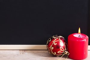 Blackboard with Christmas baubles
