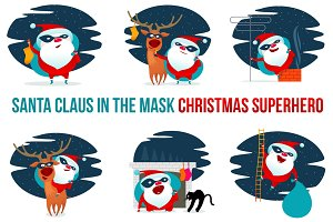 Vector clipart Santa Claus superhero