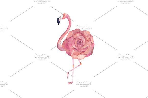 Watercolor Floral Flamingo
