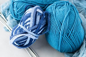 Winter color wool yarn with knitting needles