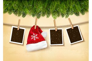 Christmas tree branches with photos