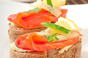 Appetizing sandwich with salmon