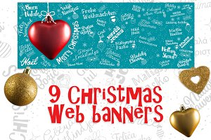 Set of Christmas banners from world