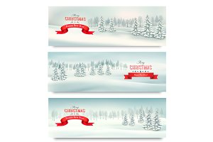 Three Christmas landscape banners.