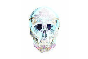 Watercolor Ornamental Skull