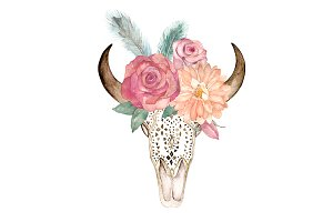 Watercolor Floral Skull Bull