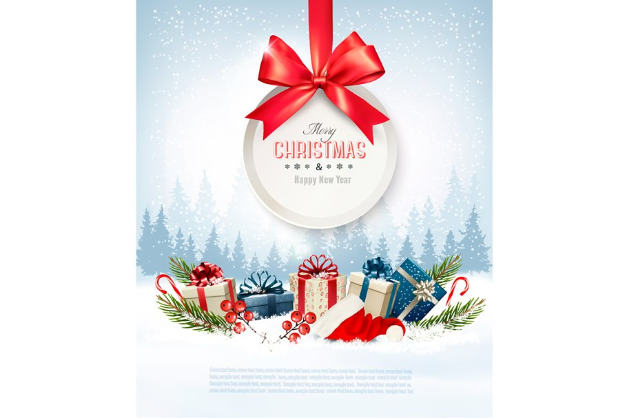 Merry Christmas Gift Card.Christmas Presents With A Gift Card