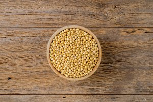 Soy bean in wooden bowl