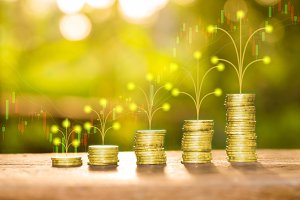 Pile money coins