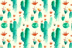 Yellow Desert Cactus Pattern