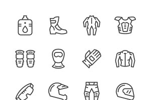 Set icons of motorcycle equipment