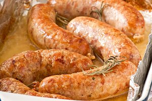 Homemade sausages baked in the oven