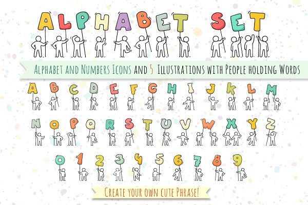 Alphabet and numbers set with Peopl…