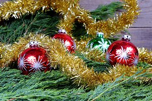 Red and green Christmas balls