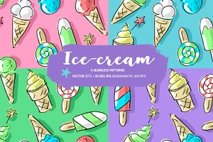 Set: seamless pattern with ice-cream