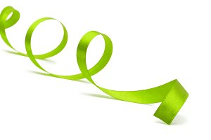 green ribbon on white