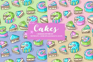Set: seamless pattern with cakes