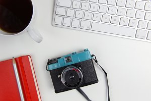 Retro Camera on White Desk
