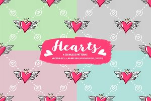 Set: seamless pattern with hearts