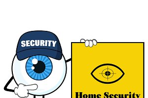 Blue Eyeball Pointing A Sign Banner