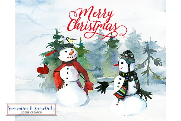 Snowmen Christmas Clipart Collection Illustrations Creative Market