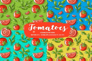 Set: seamless patten with tomatoes
