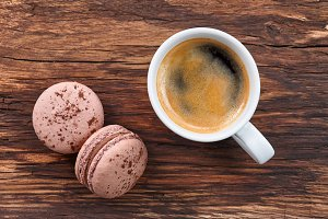 Espresso coffee with macarons