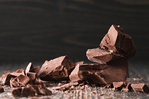 Chocolate pieces on a dark backround