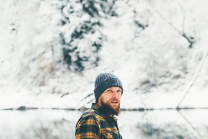 Bearded Man walking alone