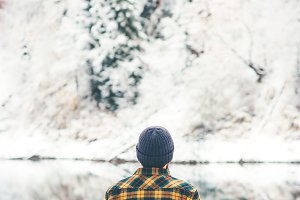 Man Traveler alone enjoy winter