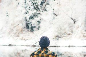 Man Traveler alone enjoy winter