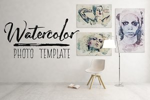 Watercolor Portrait Photo Template