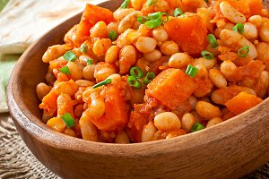 Stewed white beans and pumpkin