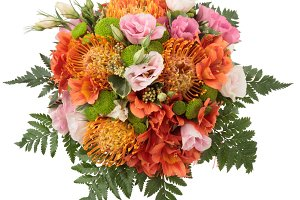 Bouquet with protea from above