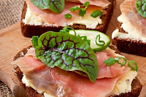Sandwiches with salty salmon
