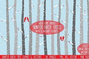 Winter Birch Tree Clipart & Vectors