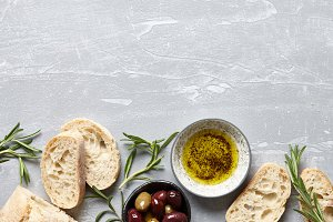 Italian ciabatta with olive oil and herbs