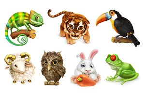 Funny animal set. 3d vector icon