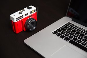 Red Retro Camera + Computer