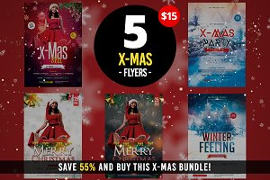 5 X-MAS PSD Flyers Template