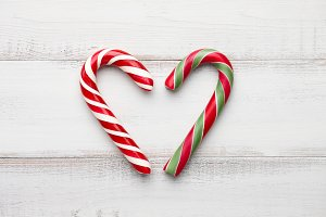Peppermint candy canes heart