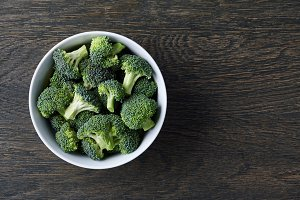Fresh green broccoli in a bowl