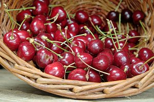 Ripe cherries in a wicker basket