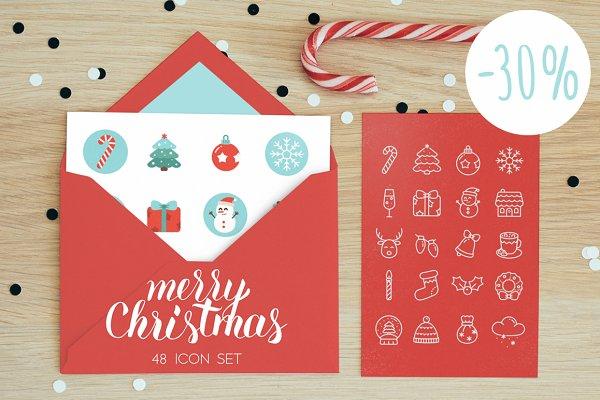 48 Vector Christmas Icon set 30% of…