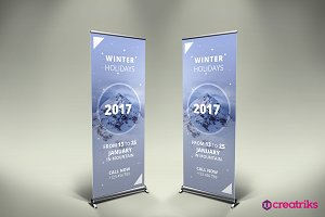 Winter Holiday Roll Up Banner