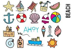 Beach Doodle Clipart
