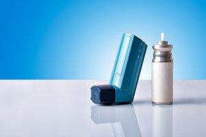 Medicine inhaler front blue