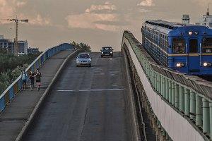 Metro train on bridge